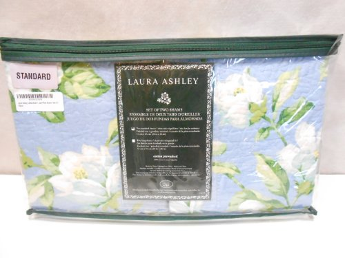 Laura Ashley Carlisle Blue Floral Quilted Standard Pillow Shams - (Laura Floral Pillow Shams)