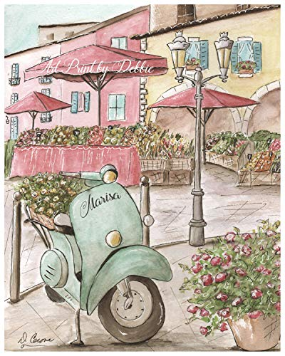 Custom name PERSONALIZED Vespa scooter French market fine art print For girls blush pink vintage Paris France or Italy travel bedroom decor