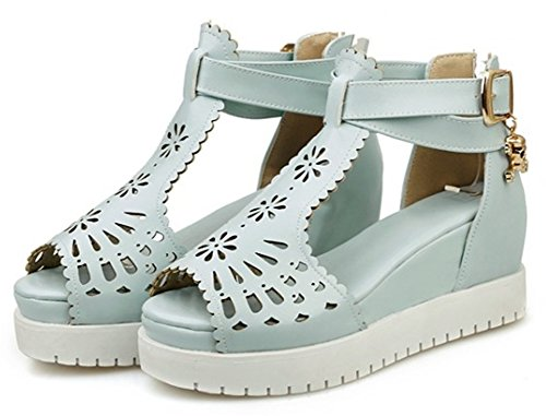 EaseMax Womens Sweet Mid Wedge Heels Hollow Out Sandals With Ankle Strap Blue pPwDF4jOw3