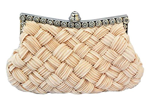 (Chicastic Pleated and Braided Rhinestone studded Wedding Evening Bridal Bridesmaid Clutch Purse - Beige)