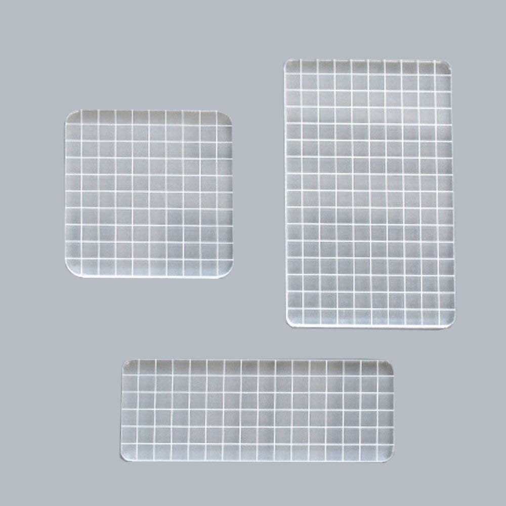 1 cm in Height 2 Rectangular,1 Square 3pcs Thick Stamp Block with Grid Lines,Transparent Acrylic,3 Specifications