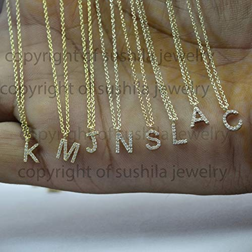 - 14K Solid Gold Genuine SI Clarity G-H Color Diamonds Initials Necklace Alphabet Personalized Jewelry 14 to 18 inches Adjustable (A to Z - 0 to 9)