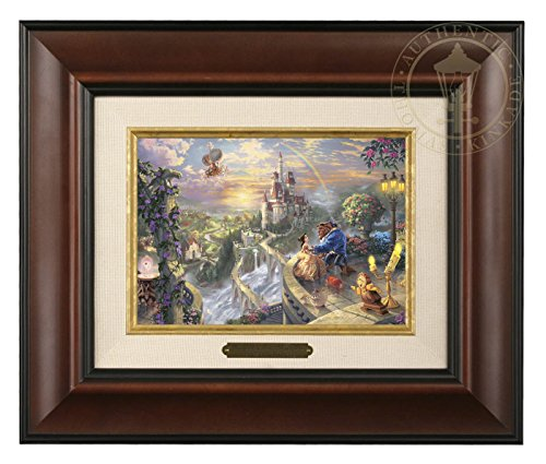 Thomas Kinkade Disney Beauty and the Beast Falling in Love Brushwork (Burl Frame) (Thomas Kinkade Beauty And The Beast Painting)