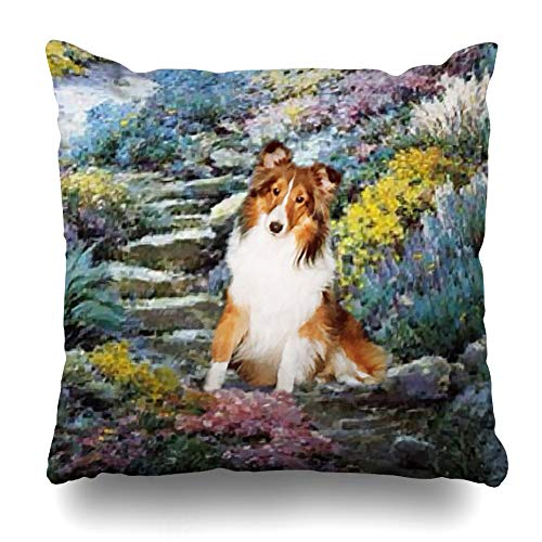 WAYATO Pillow Case Cotton and Polyester Blend Throw Pillow Covers Shetland Sheepdog Art Gifts Bed Home Decor Cushion Cover 18X18 Inch