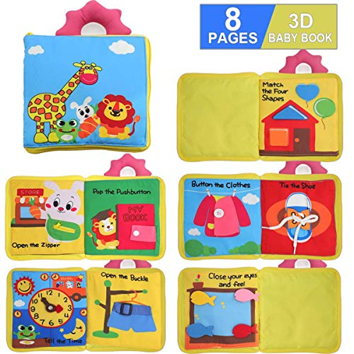 POKONBOY Quiet Books for Toddlers - Soft Baby Books Touch and Feel Cloth Book, 3D Books Fabric Activity for Babies /Toddlers, Learning to Sensory Book, Identify Skill Boys and Girls, Busy Book
