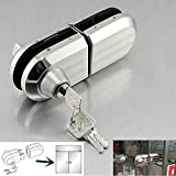 with 3 Keys Only Fit 10mm -12mm Thickness Single Swing Hinged Frameless Glass Door Locks Durable Metal Chrome Stainless Steel Anti-Theft Security Lock