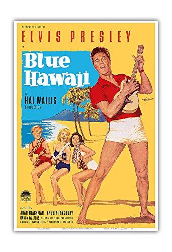 Elvis Presley Film - Elvis Presley in Blue Hawaii - Vintage Film Movie Poster by Rolf Goetze c.1961 - Hawaiian Master Art Print - 13 x 19in