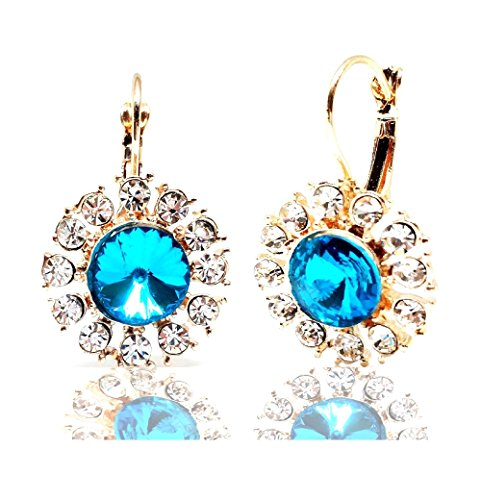 - Vintage Gold Tone Leverback Sky Blue Crystal Round Sunflower Drop Earrings