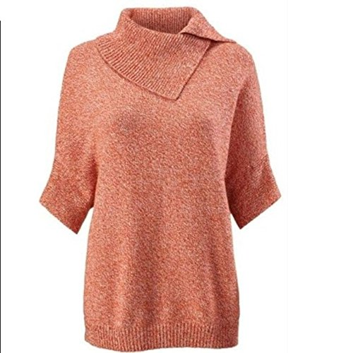 CAbi Oversized Pullover Foldover Split Cowl Neck Orange Marled Sweater