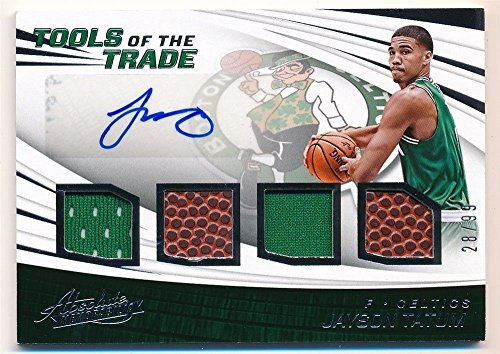 JAYSON TATUM 2017/18 ABSOLUTE RC ROOKIE AUTOGRAPH QUAD PATCH BALL AUTO SP (Quad Autograph)
