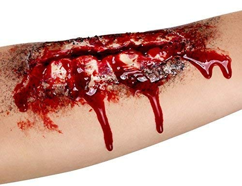 Mens Ladies Halloween Open Wound Latex Scar Bloody Special Effects Make Up Fancy Dress Costume]()
