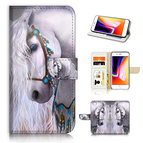 (for iPhone 7 Plus/iPhone 8 Plus) Horse Design Phone Case Wallet Cover Full Body Protection AD001 (White Horse - Horse Cover