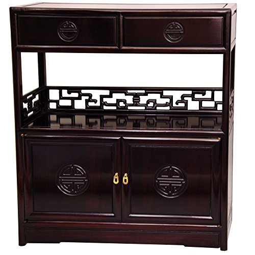 Oriental Furniture Rosewood Long Life Display Cabinet - - Case Display Oriental