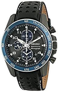 Seiko Men's SNAF37 Stainless Steel Watch with Black Leather Band