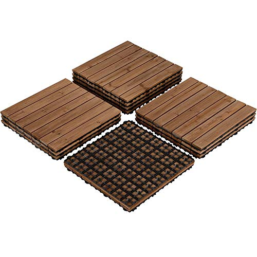 Yaheetech Deck Patio Pavers Tiles - 12PCS Interlocking Wood Composite Decking Flooring Tiles Solid Wood and Plastic Corner Edging Trim Tiles Indoor Outdoor 17.5 x 17.5