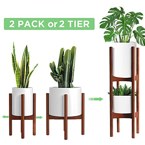 3 Pack Mid Century Modern Plant Stands with Adjustable Width 8 to 12, Indoor Bamboo Plant Stand with 2 Tier Use Method (Pot & Plant Not Included)
