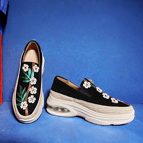 KJJDE Chaussures À Plateformes Femme WSXY-Q1419 Fleurs De Bande Élastique Coins Semelles Black VcV2sYEW