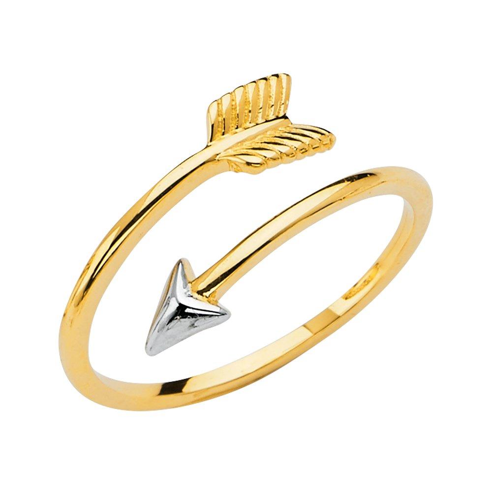 14K Solid Two Tone Gold Fancy Open Adjustable Love Arrow Ring Ioka