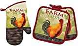 Cute Rooster Themed Oven Mitt and Pot Holders. Heat Resistant, Great for BBQ, Cooking, and Baking. Home Collection Springtime Beautifully Designed Kitchen Linen. Set of 3