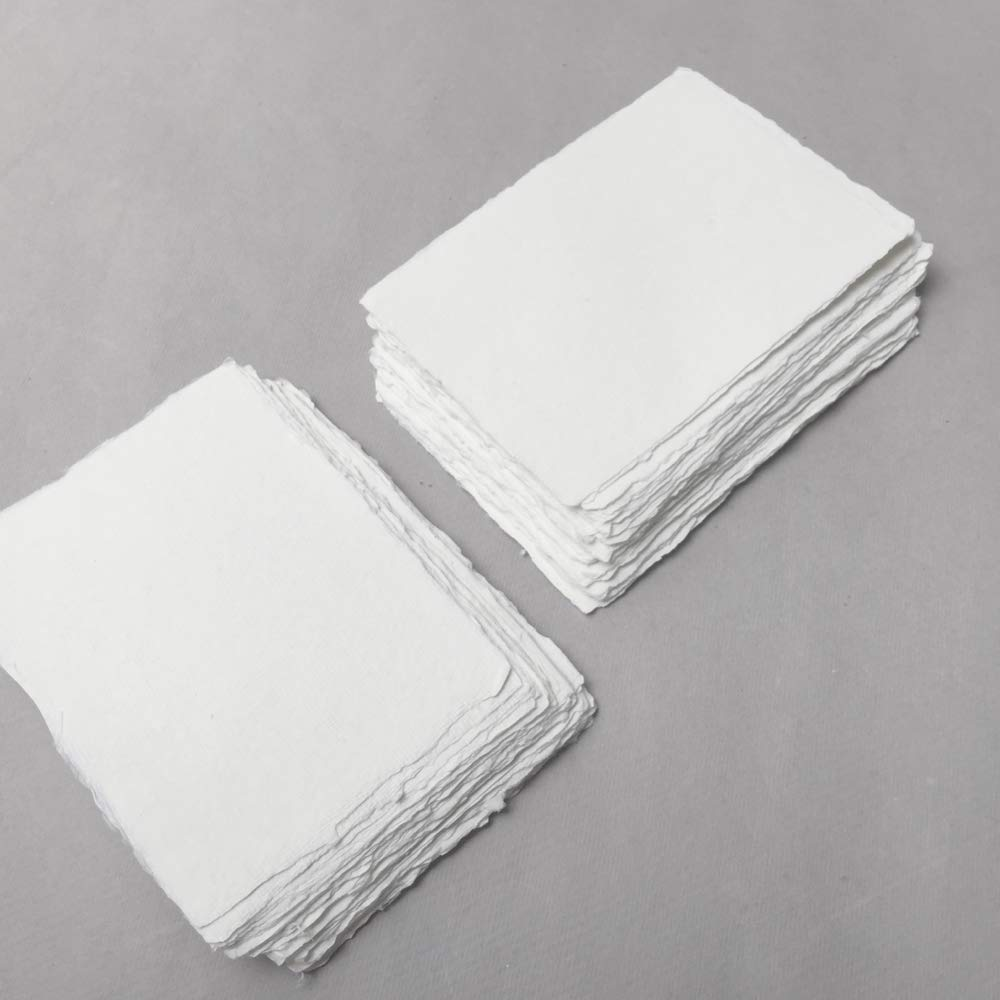4.1 inch x 5.8 inch (A6) 210gsm, Ivory Handmade Cotton Deckle Edge Papers by Indian Cotton Paper Co.