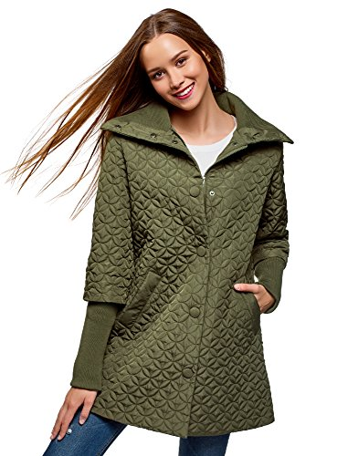 oodji Collection Women's Quilted Stand Collar Coat, Green, 4