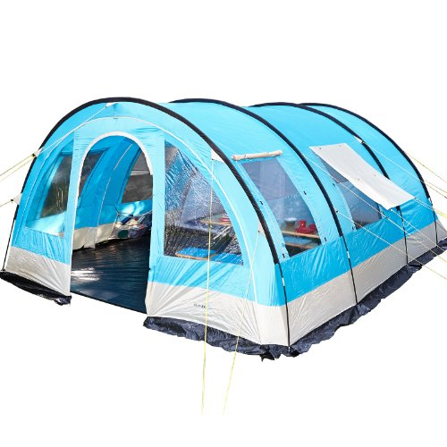 Skandika Helsinki 6 Personen Familien-Zelt blau, wasserdicht durch starke 5000 mm Wassersäule. Großes, geräumiges und robustes Outdoor Camping-Zelt, Tunnel-Zelt mit großem Vordach, Insekten-Netzen und über 2 m Stehhöhe