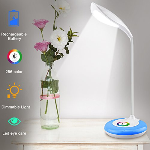 Table Acrylic Light One Lamp (LED Desk Lamp,Desk Light Color Light Led Desk Reading Lights Led Table Lamps for Home Office With Wireless Touch Control Flexible Gooseneck 256 Color Changing Base and 3 Brightness Levels)