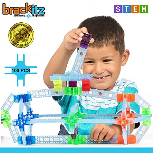 Brackitz Inventor STEM Discovery Building Toy for Kids Ages 3, 4, 5, 6+ Year Olds | Best Boys & Girls Educational Engineering Construction Kits | Creative Fun Learning Toys for Children | 100 Pc Set ()