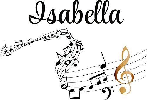 Musical Mural - Personalized Name Vinyl Decal Sticker Custom Initial Wall Art Personalization Decor Sticker Music Notes Teen Bedroom Boy Girl Musical Mural 20 Inches X 30 Inches