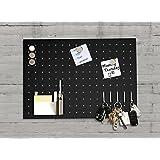 Tableau magnétique Master of Boards® en acier inoxydable | ligne Monaco - en couleur noire | pour clés et notes, avec porte-crayons - 35x50cm