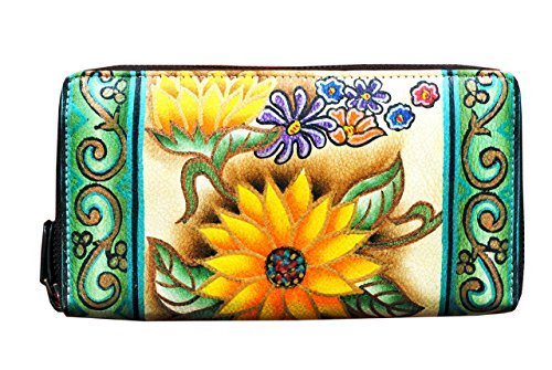 Flower Hand Painted Leather Wallet - 5