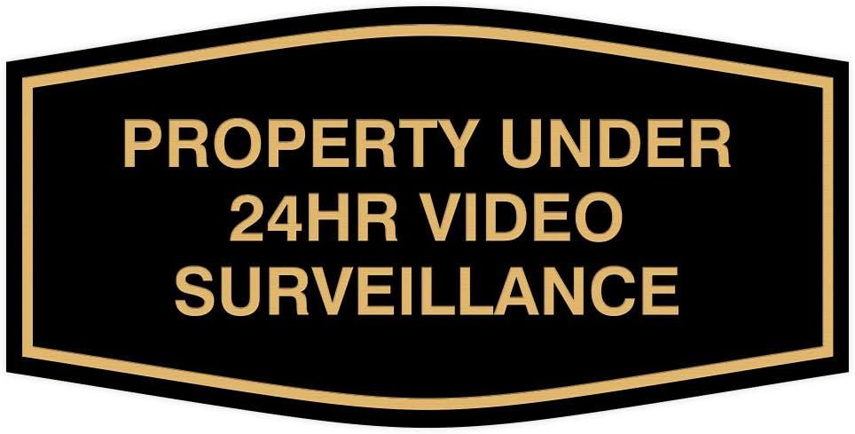 Fancy Property Under 24Hr Video Surveillance Sign (Black/Gold) - Small