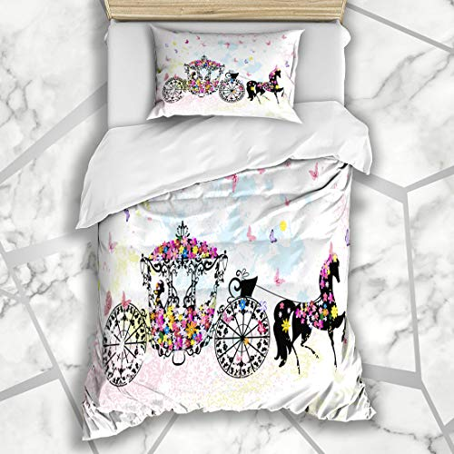 Ahawoso Duvet Cover Sets Twin 68X86 Cart Vintage Floral Carriage Cinderella Wedding Holidays Birthday Horse Chariot Girl Elegance Microfiber Bedding with 1 Pillow Shams