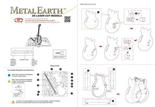 Fascinations Metal Earth Electric Bass Guitar 3D Metal Model Kit MMS075