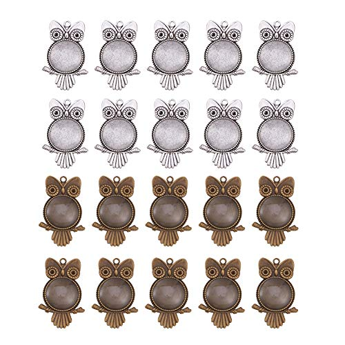 - PandaHall Elite 20 Sets Tibetan Styles Alloy Owl Pendant Trays Round Blank Bezel with 25mm Glass Cabochon Round Clear Dome Tiles for Crafting DIY Jewelry Making Antique Silver and Antique Bronze