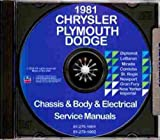 1981 DODGE REPAIR SHOP & SERVICE MANUAL & BODY MANUAL CD INCLUDES: Mirada, St Regis, Diplomat. 81
