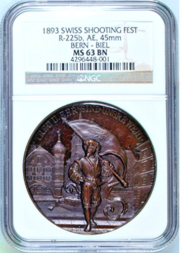1893 CH Swiss 1893 Bronze Shooting Medal Bern Biel Musket coin MS 63 NGC