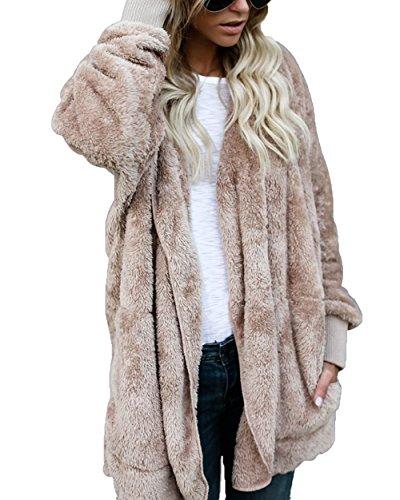 FOUNDO Women's Casual Draped Open Front Oversized Pockets Hooded Coat Cardigan Khaki (Faux Fur Cardigan)