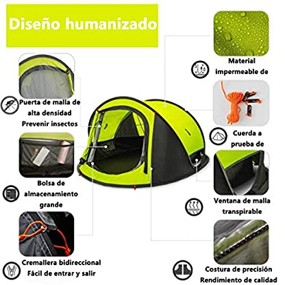 Zenph Pop Up Family Camping Tent, Waterproof Automatic Camping Tent,UV Cut for Camping Hiking Festivals 4