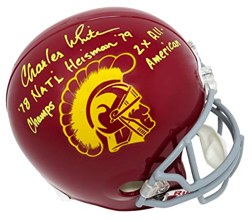 (Charles White Signed USC Trojans Riddell Full Size Replica Helmet w/78 Nat'l Champs, Heisman 79, 2x All American)