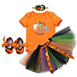 Baby Girls 1st Halloween Party Outfits Costumes Newborn Infant Toddlers Pumpkin Skull Short Sleeve Rompers Tutu Bowknot Skirt with Headband Shoes Children Photo Shoot Clothes 0-18 Months