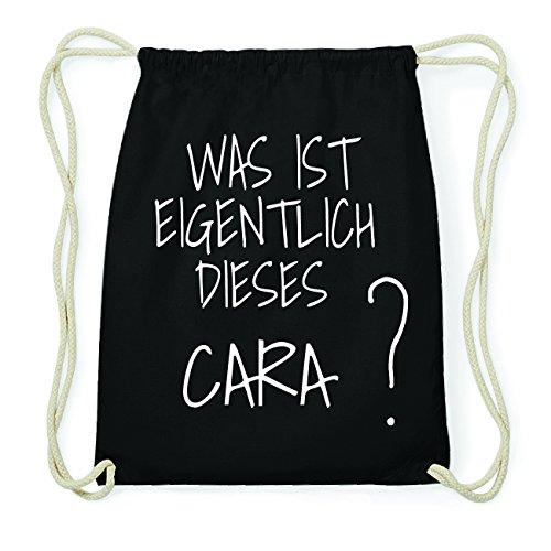 JOllify CARA Hipster Turnbeutel Tasche Rucksack aus Baumwolle - Farbe: schwarz Design: Was ist eigentlich