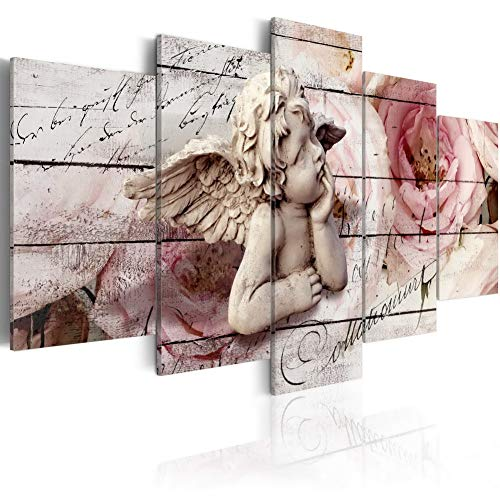 Angel Canvas Print Wall Art Cherubic Reverie Painting Modern Rose Picture 5pcs Artwork Home Decoration Framed Ready to Hang CL05, -