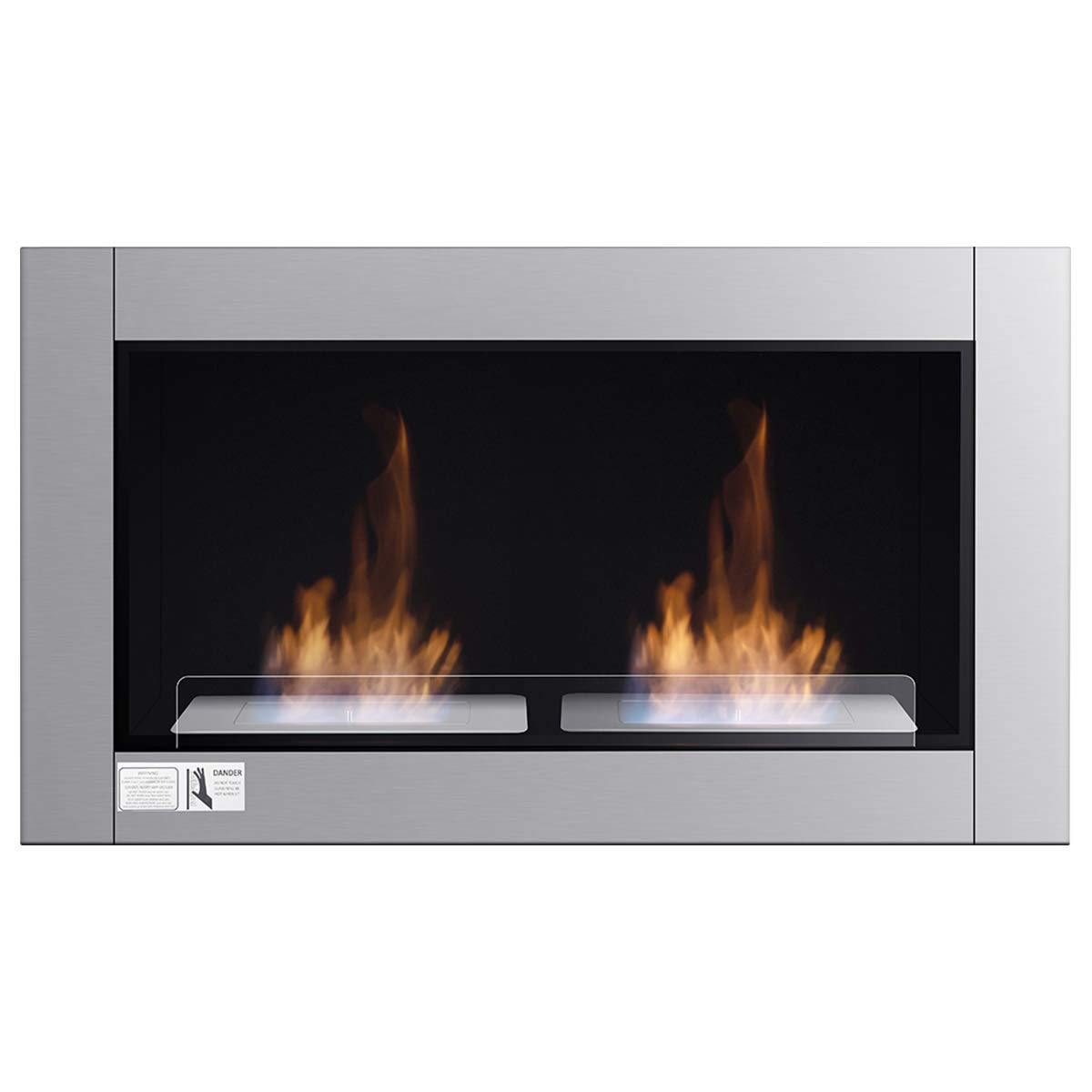 Tangkula 38'' Wall Mounted Fireplace Dual Burner Bio-Ethanol Fireplace Ventless Hanging Fireplace Tabletop Fireplace by Tangkula