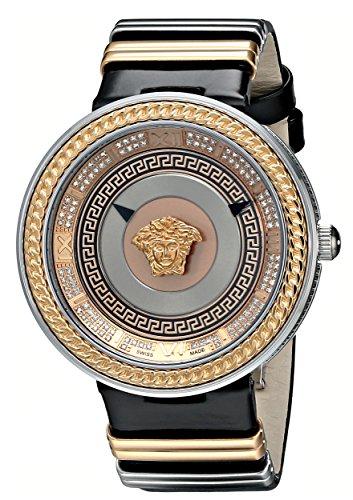 Versace Women's VLC050014 V-Metal Icon Analog Display Swiss Quartz Black Watch