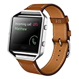 Fitbit Blaze Watch Band, ABC Luxury Genuine Leather Wrist Watch Band Strap for Fitbit Blaze Smart Watch (Brown )