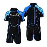 Unisex Toddler Children Youth Full Kid's Wetsuit Premium Neoprene 2mm Warmer Swim Suit Shorty(Black+Blue)