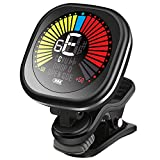 LEKATO Rechargeable Guitar Tuner Clip On LED Color Display Tuner for All Instruments - Guitar, Violin, Ukulele & Chromatic Tuning Modes, Fast & Accurate, Easy to Read, Professional and Beginner