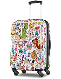 Nickelodeon Hardside Luggage with Spinner Wheels, White/Orange, Carry-On 21-Inch
