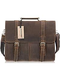 Jack&Chris ®Men Leather Laptop Bag Briefcase Messenger Bag, N1115